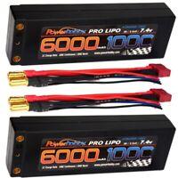 Powerhobby 2S 7.4V 6000mAh 100C Lipo Battery w 4mm Bullet Connectors ( 2 Pack )
