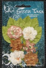 3cm Tea Roses Assorted 6pack With Leaves 12 Colour Options Paper Flowers Card Ochre