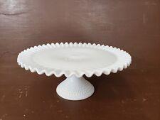 Vintage Cake Plate Stand Fenton Hobnail Pedestal Ruffled White Milk Glass