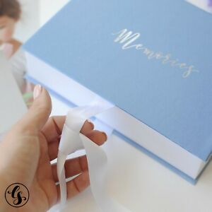 5x7 Photo Album Box Prints Keepsake Photography Wedding Gift Paper Blue