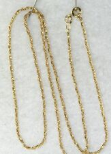 USED UNO A ERRE 14K GOLD 18 INCH LONG 1MM SINGAPORE ROPE CHAIN NECKLACE