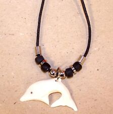 NEW BONE DOLPHIN ROPE NECKLACE unique jewelry collectors dolphins pendant rope