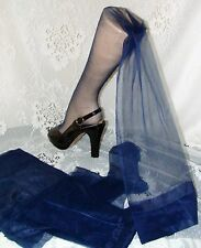 "1 Pr Sassy & Sultry Vtg Unworn Blue Flat Knit Seamless Stockings~Rt~10-36""~ Fab"
