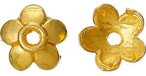 50 Stück Perlkappen Blume für Perlen 7 mm goldfarben *