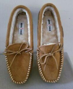 New Men's Minnetonka Chestnut Suede Slippers Moccasins w/Rubber Sole Sz 12 M