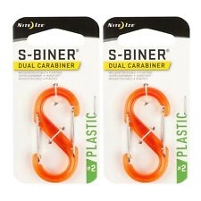 Nite Ize S-Biner Plastic #2 Translucent Orange Dual-Gated Carabiner (2-Pack)