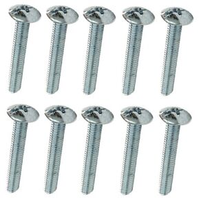 PACK OF 10 x M4 MACHINE SCREWS BUTTON FLANGE HEAD POZI  OR SLOT DRIVE GALVANISED