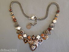 REMINISCENCE COLLIER TOUR DE COU FEMME GRIS ARGENT COEUR MARRON STRASS NECKLACE