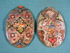 Eastern Oriental Chinese Hand Painted Mother of Pearl Shell Pendant Pair with Bi