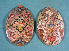 Eastern Oriental Chino Pintado A Mano Madre de Perla Colgante De Concha par con Bi