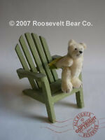 MINIATURE ooak artist TEDDY in Adirondack chair ROOSEVELT BEAR CO by C. Peterson