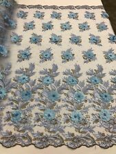 3D Flowers Embroidered On A Mesh Lace Pearls With Rhinestones Baby Blue By Yard