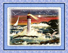 "Lighthouse Sail Ship Sea Gull Sunset Ocean Sailor Cotton Fabric 35""X40"" Panel"