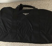 Authentic Prada Black Nylon Leather Trim Carry-On Travel Bag Gym Weekend