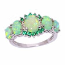 Handcrafted Green Fire Opal Emerald Silver Ring Size 7 Gift