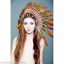 Orange Feather Native American Indian Headdress Coachella SH016 USA SELLER