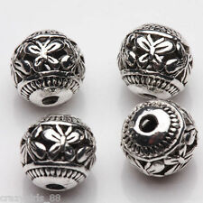 8MM 10Pcs Silver Plated Loose Spacer Beads Charms Jewelry Craft Making Findings