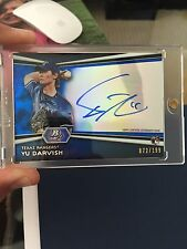 Yu Darvish 2012 Bowman Platinum BLUE Refractor RC on-card Auto #'d/199 - RANGERS