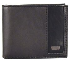 NEW LEVI'S MEN'S PREMIUM LEATHER CREDIT CARD ID WALLET BILLFOLD BLACK 31LV13D4