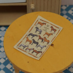 Dolls House Miniature 1/12th Scale Tea Towel - Horses & Ponies (466)