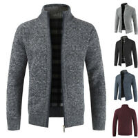 Men Sweater Winter Warm Thicken Zipper Pullover Sweater Stand Neck Knitwear Coat
