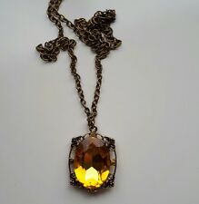 Vampire Dairies AMBER BRONZE NECKLACE VINTAGE ANTIQUE STYLE PENDANT