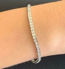 Genuine 925 Sterling Silver Cubic Zirconia Tennis Bracelet CZ 3mm Square Cut