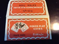 VINTAGE RAZOR BLADE & WRAPPER 'POKER PLAY' GERMANY'