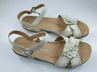 F&F size 8 (41) ivory / beige faux leather buckle strap flat sandals