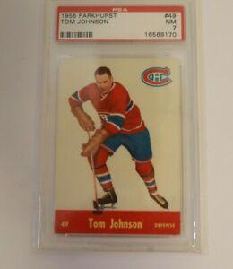 1955 Parkhurst Tom Johnson #49 PSA 7 Montreal Canadiens