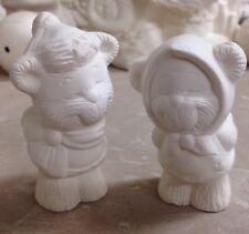 Ceramic Bisque KISSING SWEETHEART BEARS(1pr)Winter•Couple•Christmas Gifts•Pair•