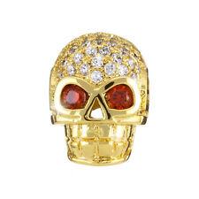 Hollow Brass Skull Bead 13x10x7mm Micro Pave Cubic Zirconia Golden PK1 (H89/9)