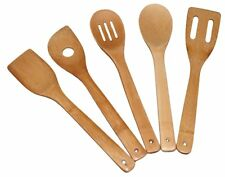 Wooden Spoons 5 Piece Utensil Set Kitchen Cooking Bamboo Tools Wood Spatula Kit