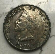 1892 Colombia 50 Centavos - Nice Silver
