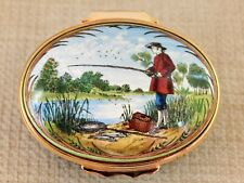 Halcyon Days Enamel Over Copper Box,Fisherman at the Lake with his Pole & Basket