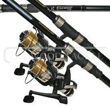 2 X CARP STALKER FISHING RODS 8FT & 2 OAKWOOD B,T,R COARSE FISHING REELS + LINE