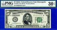 Rare FR-1951-I 1928-A $5 FRN (( Minneapolis )) PMG Very-Fine 30EPQ # I04504557A