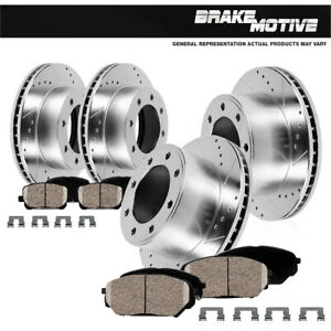 Front+Rear Drill Slot Brake Rotors & Ceramic Pads For 2016 Ford F-350 Super Duty
