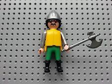 Playmobil personas-Castle Soldier-Grande Hacha, casco, Hair & Bigote Negro