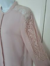 THE KOOPLES @ NET A PORTER PALE DUSKY PINK LACE SHIRT TOP ex condition small s