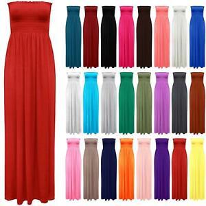 Womens Strapless Flared Maxi Dress Ladies Sheering Boob tube Bandeau Long 8-24