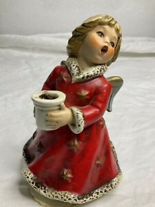 VTG W Goebel 1965 Christmas Red Angel Music Box (Silent Night)Candle Holder READ