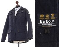 Womens BARBOUR INTERNATIONAL Quilted Quilt Jacket Coat Navy Blue Size UK 12 US 8