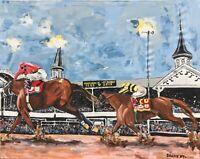 HORSE RACING Kentucky Derby Original Art PAINTING DAN BYL Maximun Security 4x5ft