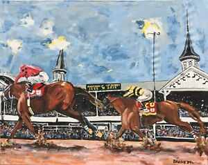 HORSE RACING Kentucky Derby Original Art PAINTING DAN BYL Maximun Security 4x5ft