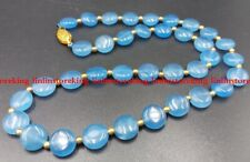 Natural 10mm Blue Aquamarine Gemstone Coin Beads Jewellery Necklace 18''