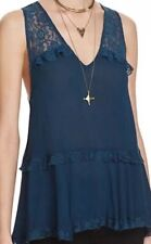NWT INTIMATELY FREE PEOPLE Nylon AND LACE SAPPHIRE  Babydoll Nightgown Sz M