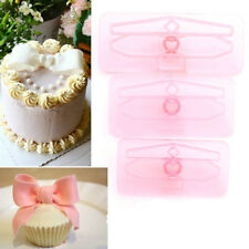 3Pcs Plastic Bowknot Bow Cookie Biscuit Cake Cutter Fondant Mold Sugarcraft Tool
