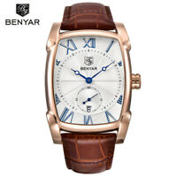 BENYAR Brand Military Sport Mens Quartz Watches Leather Band Watch Date Display