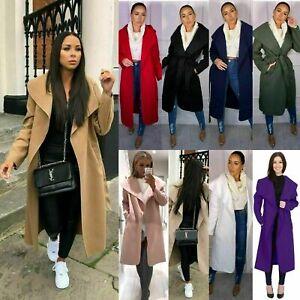 Belted Duster Jacket Drape Long Coat Ladies Women Waterfall Italian Trench UK